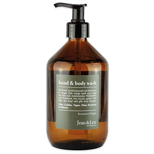Jean & Len Hand & Body Wash Rosemary & Ginger, 2in1 Handseife und Duschgel in umweltfreundlicher Glasflasche, nachfüllbar, 500 ml, 1 Stück
