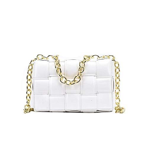 ZHENBK Bolso bandolera de tela escocesa cuadrada tejido de lujo para mujer, bolso de cadena de Color puro de invierno, bolso de diseñador de moda, bolsos con solapa de hombro de cuero Pu