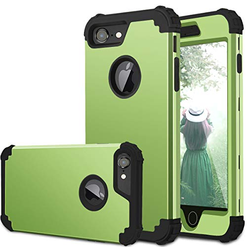 iPhone 7 Case, iPhone 8 Case, Fingic 3 in 1 Heavy Duty Protection Hybrid Hard PC & Soft Silicone Rugged Bumper Anti Slip Full-Body Shockproof Protective Case for Apple iPhone 7/8 4.7 inch, Lime Green