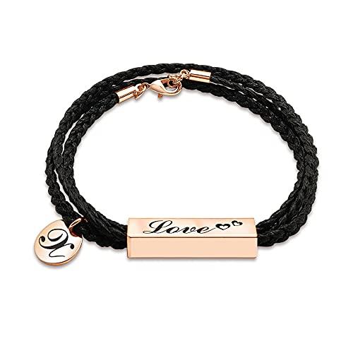 Pulsera personalizada personalizada, pulsera inspiradora para mujeres, pareja pulseras, nombre grabado / fecha, acero inoxidable y cuerda trenzada negra, regalo de Navidad para novio y novia