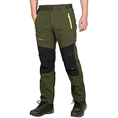 ZOEREA Men's Outdoor Hiking Camping Climbing Mountain Stretchy Ultralight Athletic Pants Multi Pockets Moisture Wicking Sun Protection Spring Summer Autumn Winter (Green - Thick, 2XL)