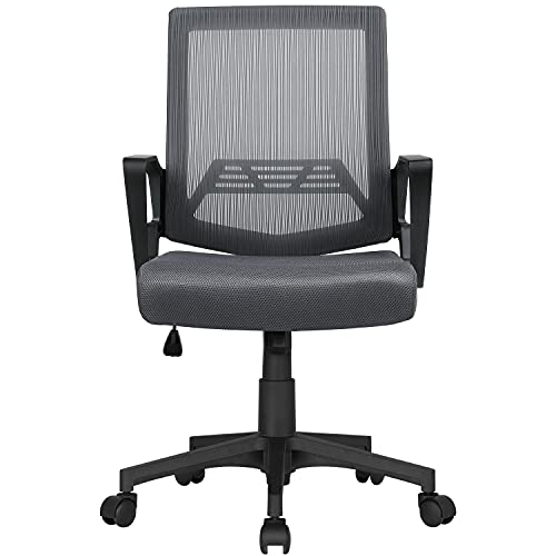Yaheetech Bürostuhl Ergonomischer Drehstuhl Schreibtischstuhl in Netzoptik Höhenverstellung und Wippenfunktion mit rollen