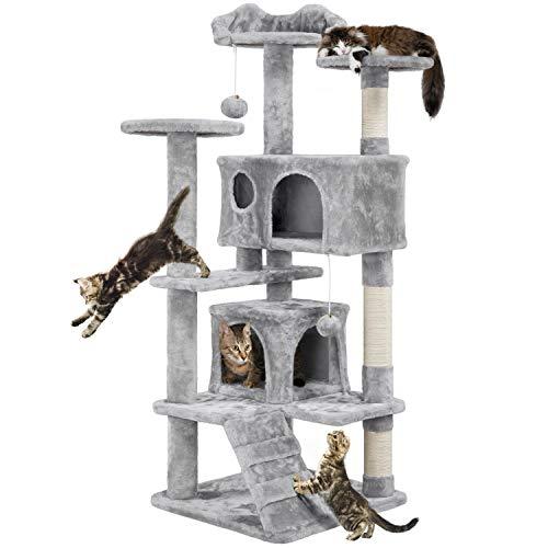 Yaheetech Árbol para Gatos Rascador con Plataforma Escalador para Gatos con Bolas 50x50x130 cm