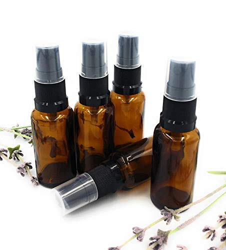 Beeria 5 Pcs Brown Glass Bottle with Black Atomizer 20ML Portable Travel Size Bottles for Essential Oils, Aromatherapy Mixtures