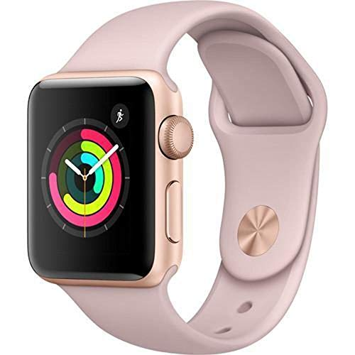 Apple Watch Series 3 38mm (GPS) - Gold Aluminium Case with Pink Sand Sport Band (Renewed)
