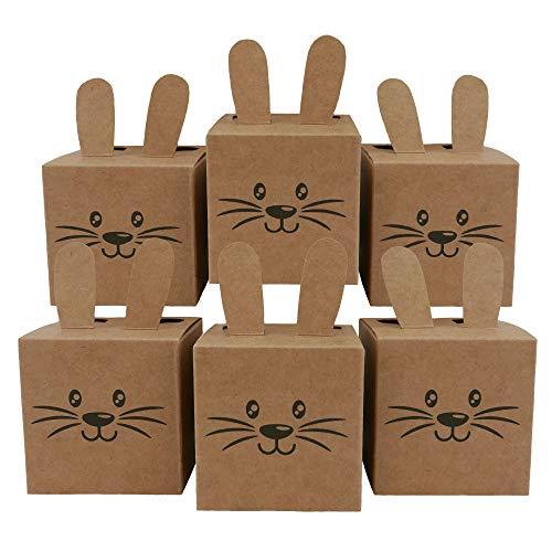 Papierdrachen 12 Geschenkboxen im Osterhasen-Design - Kisten mit Ohren, Pompom und Gesicht - 7cm x 7cm - naturbraun - Osternest für Kinder