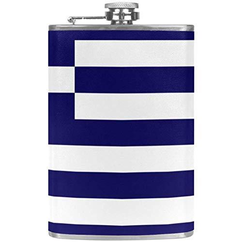 Bennigiry Herren Flachmann Flagge griechischer Edelstahl Weinflasche Leder Taschen-Trinkflasche für die Aufbewahrung von Whiskey Alkohol Likor (2oz)