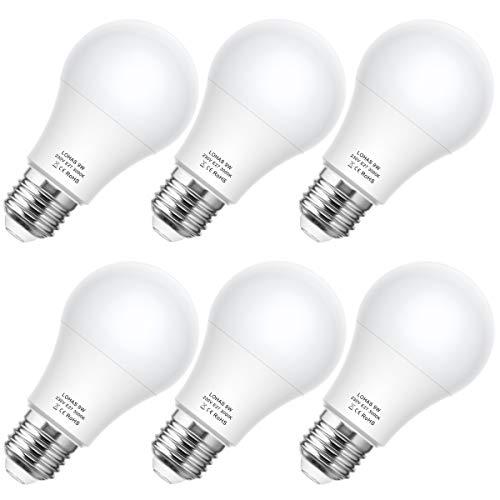 Bombilla LED E27, 9W LOHAS A60 Bombilla LED Equivalent a 60W Incandescente Bombilla, Blanco Cálido 3000K, 820LM, Bombilla de Bajo Consumo, Paquete de 6 Unidades.