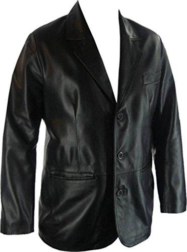 Véritable veste en cuir UNICORN classique costume blazer noir #G4, pour homme - Noir - XXX-Large