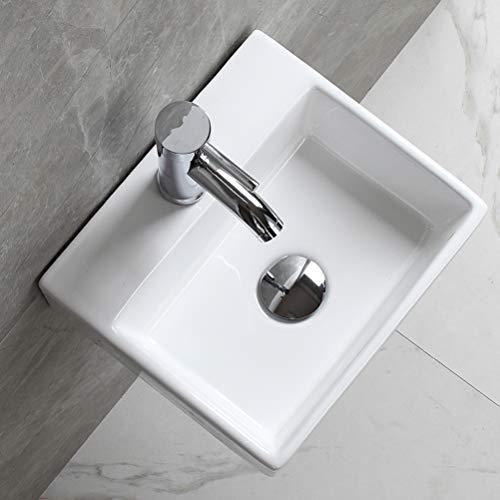 eConnect-EU Lavabo Sobre Encimera de Baño Lavabo Porcelana Blanca Lavabo Square Moderno Para Guardarropa (34 x 29.5 x12 cm )