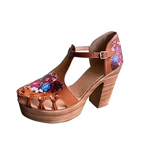 Fullwei Women Boho Sandals Orthopedic Platform Wedges Ladies Casual Chuncky Heel Hollow Out Clog Sandals Casual Walking Beach Sandals Shoe (Brown  7.5)