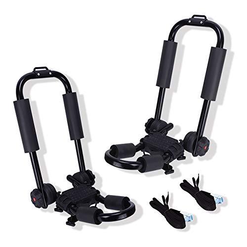 LED Kingdomus Folding Kayak Rack, Set of Two Universal J Bar Racks Cross Bars, Folding Car Rack...