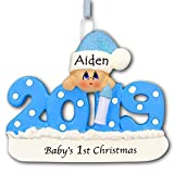 Personalized 2019 Baby Christmas Ornament - Baby's First 1st Keepsake Gift in Blue for Baby Boy with Santa Stocking Cap Hat and Bottle - New Mom Baby Shower - Your Choice of Custom Name