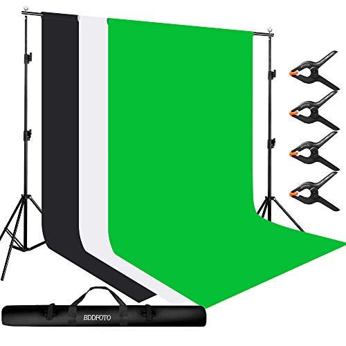 BDDFOTO Professional Fondale Fotografico Kit, incluso 2x3m Supporti per Sfondi, 1,8x2,8m Sfondi Muslin Verde/Bianco/Nero, 4Pcs 12cm Morsetti, Borsa, Adatto per Studio Fotografico, Live Streaming ecc.