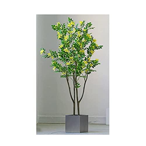 GFTDTM Árbol Artificial 4FT Planta Artificial Amarillo álamo, árboles Falsos en Olla, Seda, árbol de vegetación, Plantas de vegetación para Exteriores, decoración Exterior, Verde Bonsai Decorativo