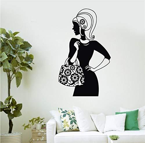 Olivialulu muursticker mooie vrouw mode handtas winkelen Vinyl Stickers 57 * 88Cm kleur grootte kan worden aangepast