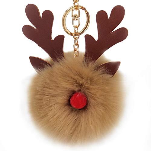 Haodou Navidad Elk Cuernos PU Juguete Lindo Llavero Peluche Colgante Mujeres Fluffy Fur Pom Llavero Colgar Juguete De La Felpa