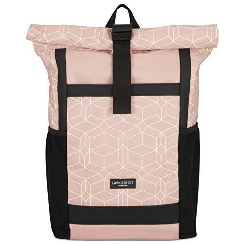 LARK STREET Rolltop Rucksack Damen Rosa gemustert No 2 Tagesrucksack aus recycelten PET-Flaschen - Backpack für Freizeit, Uni & Schule - Schulrucksack Teenager Wasserabweisend & Laptopfach 15,6 Zoll