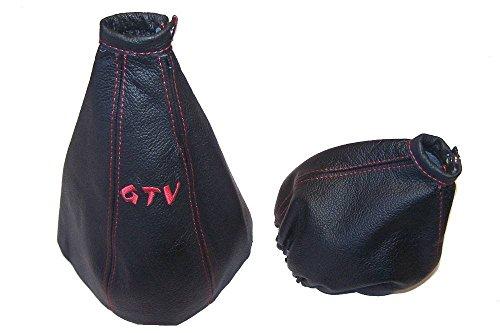 Für Alfa Romeo GTV Spider 1995–05Gear & Handbremsmanschette schwarz Italienisches Leder rot GTV -