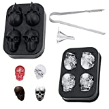 Herda 3D Skull Flexible Silicone Ice Cube Mold Tray, Makes Four Large Skulls for Baking Epoxy Resin, Round Ice Cube Maker with Ice Tong and Funnel (Black)