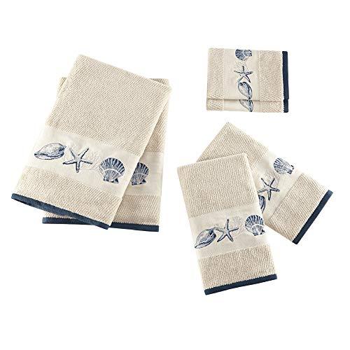Bayside Cotton Bathroom Towels , Highly Absorbent Bath Towel Set , 6-Piece Include 2 Bath Towels, 2 Hand Towels & 2 Wash Towels , Sea Blue