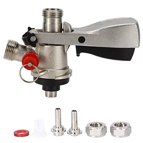 Dispensador de acoplador de barril de cerveza tipo G5/8 S con válvula de alivio de presión Conector acoplador de barril de cerveza de acero inoxidable de latón para máquina de barril de cerveza