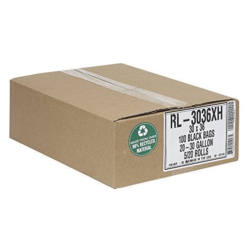 Aluf Plastics 20-30 Gallon Trash Can Liners (100 Count) - 30' x 36' - Thick 1.5 MIL Equivalent Black Trash Bags for Bathroom, Kitchen, Office, Industrial, Commercial, Recycling and More