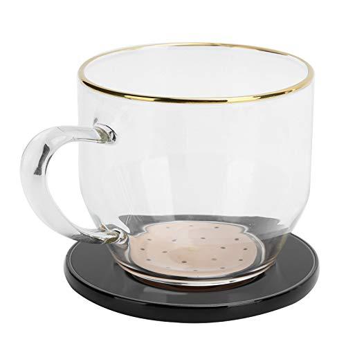 Pinsofy Taza Wamer, Taza de café de Carga rápida más Caliente 55 ° C Temperatura Constante Impermeable con Taza de 350 ml para Carga rápida de 7.5W para Carga estándar de 5W