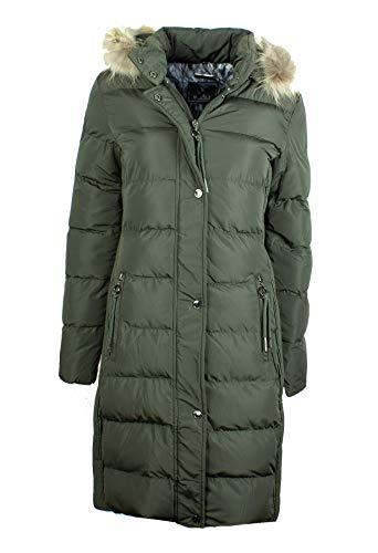 Rino & Pelle Cendy Damen Winter Mantel Steppmantel Anthrazit Grau Olive Grün Kapuze mit Fellkragen Tailliert Gesteppt (44, Olive)
