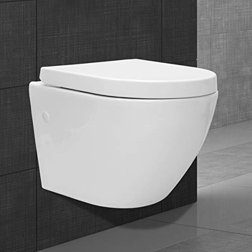 ECD Germany Spülrandlöses Wand Hänge WC kurz aus Keramik mit Soft-Close Absenkautomatik Toilettensitz WC-Sitz aus Duroplast - abnehmbar - Weiß - Spülrandlos Wand WC Tiefspül WC Hänge Toilette