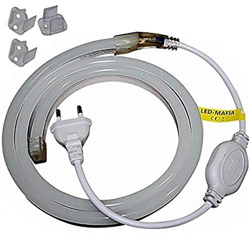 1-5m LED Neon Flex Lichtschlauch - 230V bei 8W/m - Wasserfest - Streifen Band - warmweiß weiß rot - 17,99€/m Licht (pink, 1m)