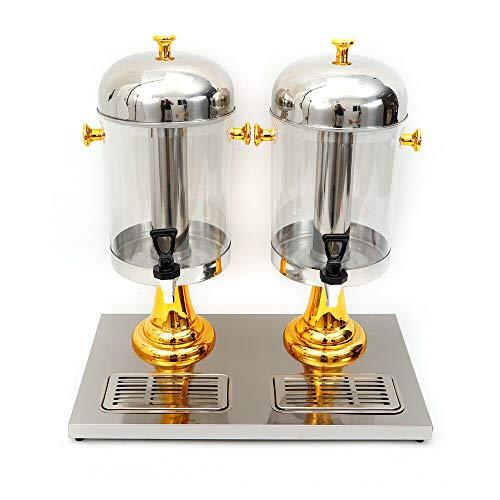 Wangkangyi Royal Catering RCSD-2 Saftspender 2 x 8 l Fassungsvermögen Edelstahl Kunststoff Kühlung Abtropfschale Durchsichtig | mit Zapfhahn | Wasserspender | Limonadenspender | Saftspender (Golden)