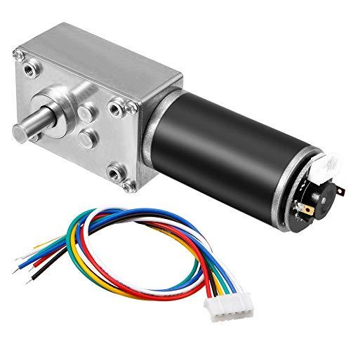 Motor eléctrico 1pcs autoblocante Worm Gear Motor con encoder y cable, de alto par Reducción de velocidad de motor DC 24V 74RPM