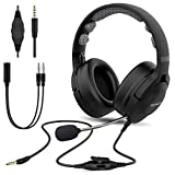 Esolom PC Headset, 3,5mm Klinke Headset Handy, Wired Business Headset mit Noise Cancelling Mikrofon für Skype-Chat Call Center Office Telefonkonferenzen Gaming Musik,Call Control Ultra Komfort
