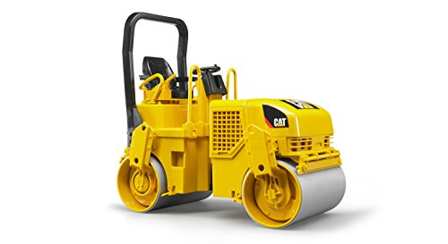 Bruder Toys - Construction Realistic CAT Asphalt Drum Compactor Vehicle with Articulated Steering - Ages 3+