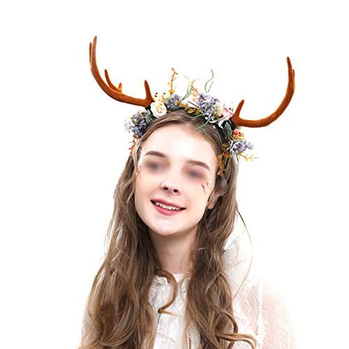 Lurrose Weihnachts-Haarreif, niedliches Stirnband, Weihnachtsgeweih, Kopfbedeckung, Zweige, Blumen, Stirnband, Weihnachten, Kopfschmuck für Frauen