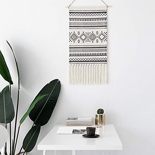LOMOHOO aztekisch Makramee Wandbehang Böhmischer Stil Handgemachte Baumwolle Fransen Quaste Banner mit Kupfer Hängestange für Kinderzimmer Dekor Wand Dekoration (MS-Sendia-Black)
