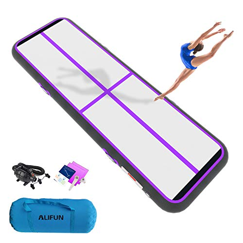 ALIFUN Air Track 10ft Airtrack Gymnastics Tumbling Mat Inflatable Tumble Track Purple with Electric Air Pump for Kids Girls Boys Gymnastics Tumbling Training/Home Use/Cheerleading/Yoga/Taekwondo
