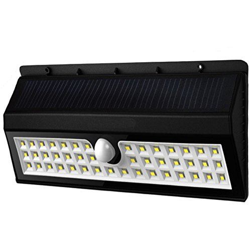 Kacuco Lampada Wireless ad Energia Solare da Esterno Impermeabile con Sensore di Movimento con 44 Lampadine LED, 3 Modalità di Funzione, per Parete, Muro, Giardino, Terrazzino, Cortile, Casa, Corraio ecc