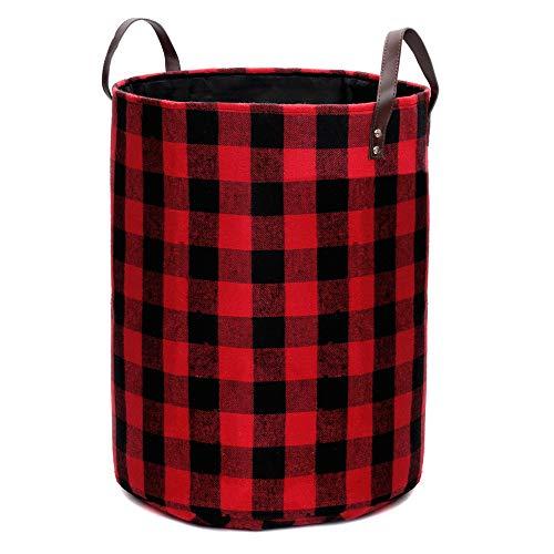 ランドリーバスケット 折り畳み式 容量44L 洗濯かご 衣類収納ボックス おもちゃ収納 格子柄 インテリア 整理用バスケット, 赤黒チェック, 幅48x高さ34cm
