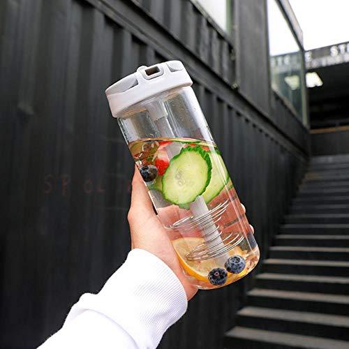 Glazen waterfles Eiwitpoeder Shakerfles Sport Gym Fitness Wei-eiwit Waterflessen Sap Citroen Fruit Waterbeker nieuw, Lichtgrijs, 601-700ml