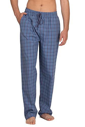 Moonline - Herren Webhose Freizeithose Loungewear aus 100% Baumwolle, Farbe:Rauch-blau, Größe:46-48