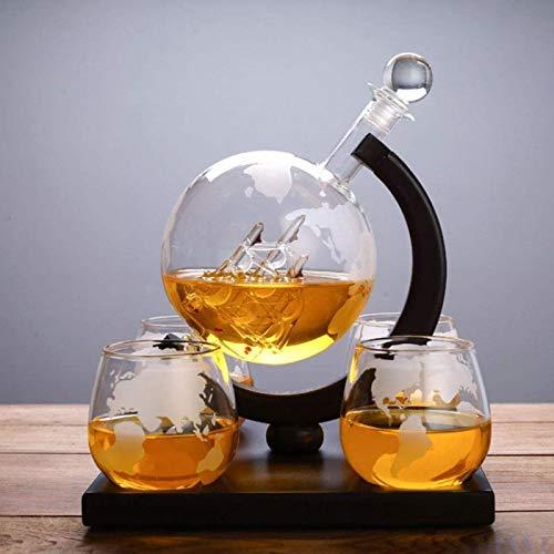 Jarra de whisky Juego de jarra de whisky de tela, garrafa de globo con 4 gafas de globo en whisky, 800 ml de gran capacidad, base de madera maciza, para licor, escocés, bourbon, vodka Regalo de whisky