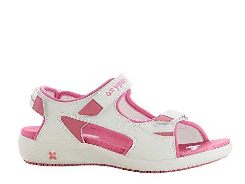"""Oxypas Oxypas Move Line, Berufsschuh, komfortabele Sandale """"Olga"""" aus Leder, antistatisch (ESD), in vielen Farben (42, weiß - fuchsia)"""