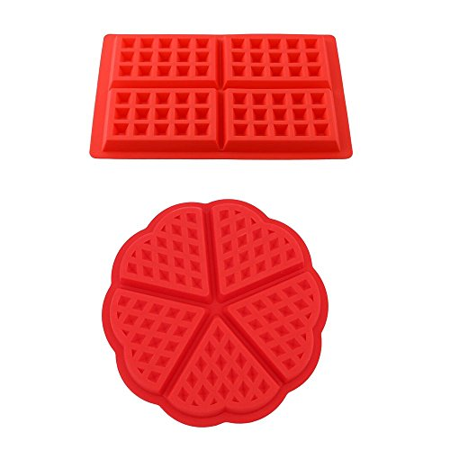 Lot de 2 en silicone forme cœur et gaufré gaufré Moule à gâteau rectangulaire ces Moules en silicone pour le four pâtisserie Outils Rouge
