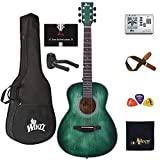 Left Handed 36 Inches 3/4 Acoustic Guitar Travel Bundle with Online Lessons, Bag, Metronome Tuner, Wall-mounted Hanger, Strap, Picks & Cleaning Cloth, Dark Hunter Green