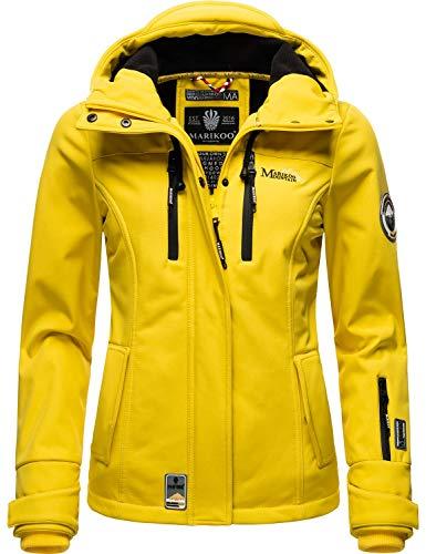 Marikoo Damen Softshell-Jacke wasserdichte Outdoorjacke mit Kapuze Kleinezicke Yellow Gr. S