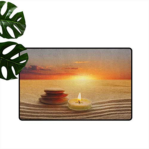 ParadiseDecor Boho,Floor Rug Carpet Stack of Stones and Candle Chakra Meditation Zen Yoga Horizon Backdrop Picture 18'x60',Custom Door mats
