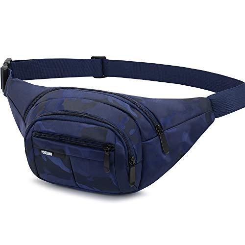 Resistente al Agua riñonera Bolsa de Cintura 3 Bolsillos con Cremallera Bolsa riñonera de Viaje Senderismo al Aire Libre Deporte Vacaciones Dinero Bolsa de Cadera Paquete, Azul (Azul OscuroⅠ)