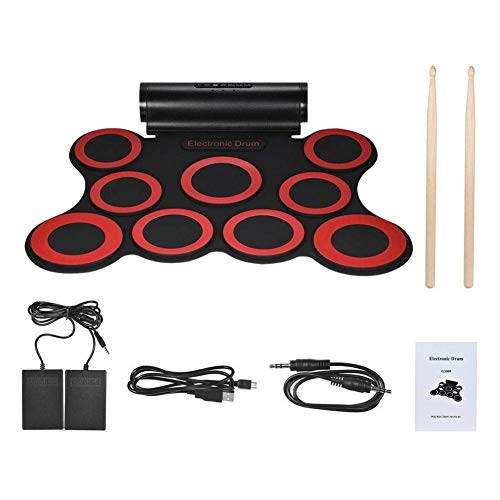LSYOA Electronic Drum Set, Roll Up Drum Kit Stereo Digital 9 Silicon Drum with Headphone Jack Built Speakers Rechargeable Battery Best Birthday for Kids,Red